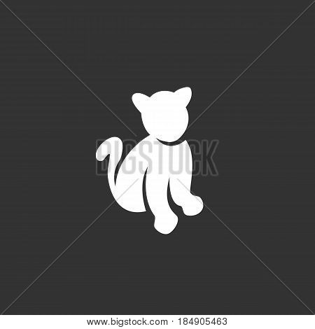 Cat vector logo isolated on a black background. Icon silhouette design template. Simple symbol concept in flat style. Abstract sign pictogram for web mobile and infographics