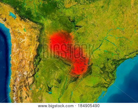 Paraguay On Physical Map