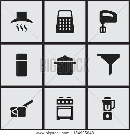 Set Of 9 Editable Cook Icons. Includes Symbols Such As Agitator , Shredder, Hand Mixer. Can Be Used For Web, Mobile, UI And Infographic Design.