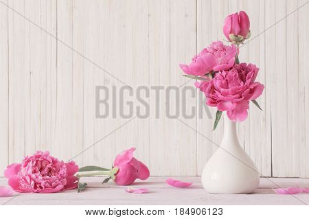 Peony flowers in vase on white background