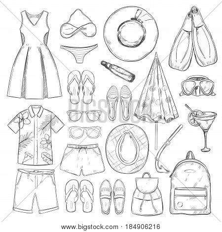 Sketch monochrome summer vacation elements set with male and female clothes items accessories isolated vector illustration