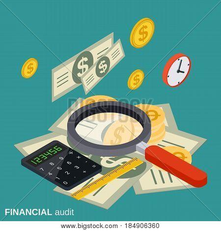 Financial audit, analytics, control, statistics flat isometric vector concept illustration