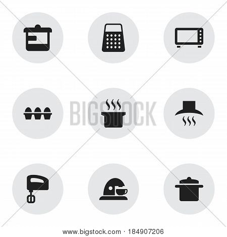 Set Of 9 Editable Cooking Icons. Includes Symbols Such As Shredder, Oven, Agitator And More. Can Be Used For Web, Mobile, UI And Infographic Design.