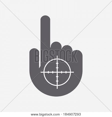 Isolated Pointing Hand With A Crosshair