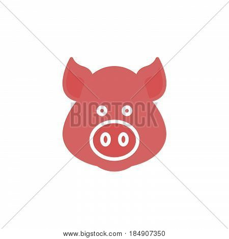 Pig head icon vector filled flat sign solid colorful pictogram isolated on white. Symbol logo illustration