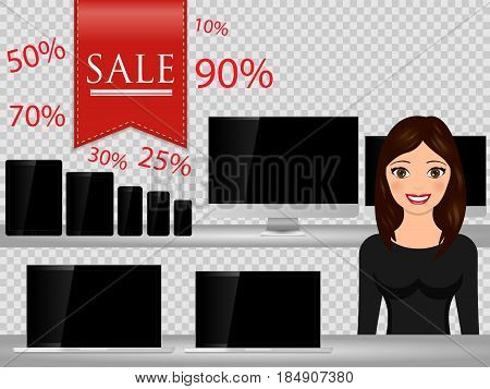 Salesperson at supermarket selling computer smartphone laptop tablet. Sales technology devices. Vector illustration.