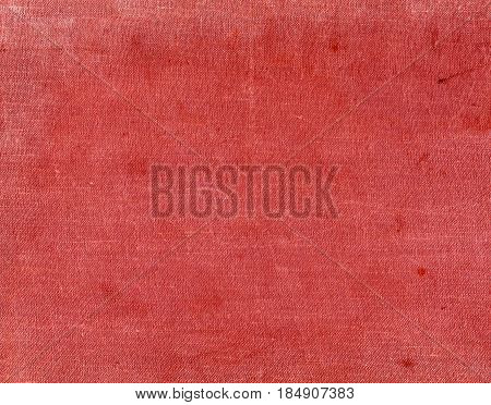 Red Color Textile Surfacr With Spots And Scratches.