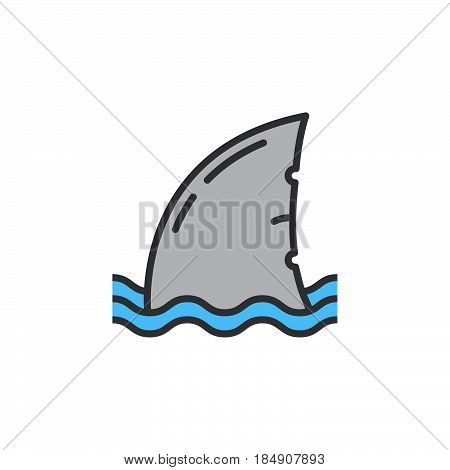 Shark fin line icon filled outline vector sign linear colorful pictogram isolated on white. Symbol logo illustration