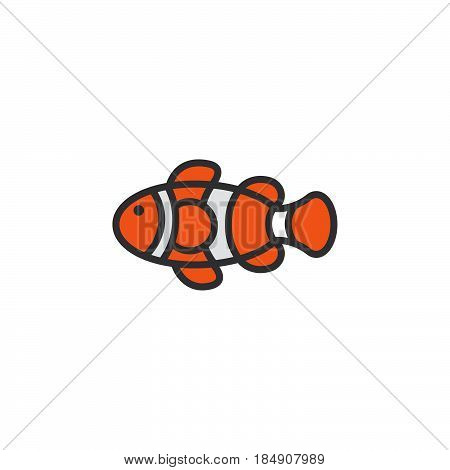 Clown Fish line icon filled outline vector sign linear colorful pictogram isolated on white. Symbol logo illustration