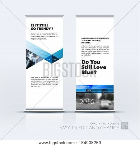 Abstract business vector set of modern roll Up Banner stand design template with blue triangles, lines, circles, shapes for tech, market, exhibition, show, expo, presentation, parade, events.