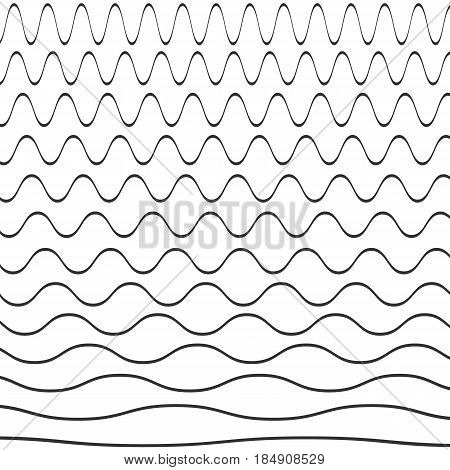 Set of wavy pattern isolated on background. Vector illustration. Eps 10.