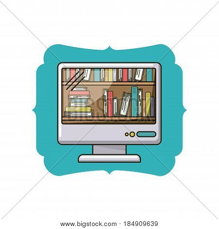 Book and computer icon. Ebook download elearning reading and electronic theme. Isolated design. Vector illustration