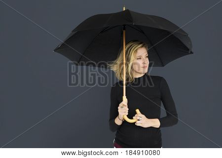Caucasian Lady Black Umbrella Concept