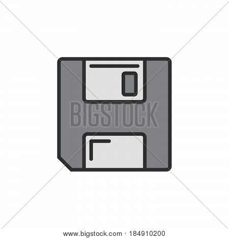 Save symbol. floppy disk line icon filled outline vector sign linear pictogram isolated on white. Logo illustration