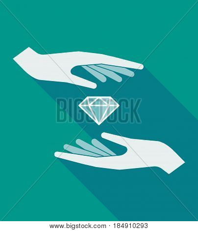 Long Shadow Hands With A Diamond