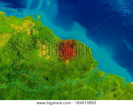 Suriname On Physical Map