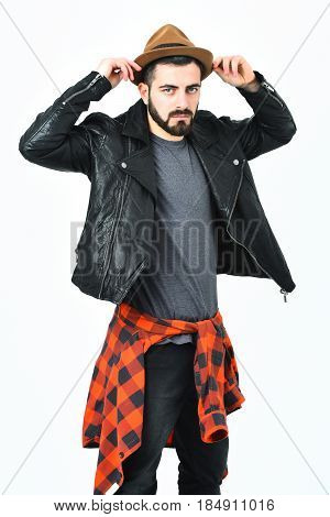 Bearded Man, Caucasian Hipster With Moustache And Hat
