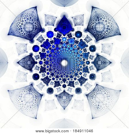 Supernova explosion. Flight millions of pieces. 3D surreal illustration. Sacred geometry. Mysterious psychedelic relaxation pattern. Fractal abstract texture. Digital artwork graphic astrology magic