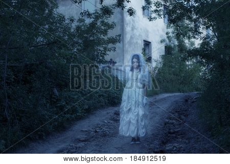 the ghost on background old house outdoor
