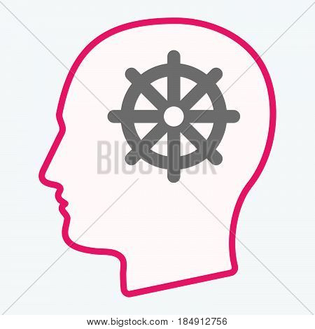 Isolated  Head With A Dharma Chakra Sign