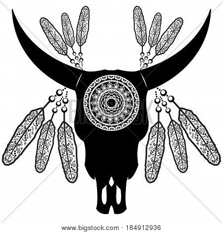Wild animal skull in black and white Aztec style feathers,  inspired by hand drawn art and native American people tattoos and art with manadala decoration on white  background