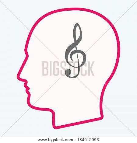 Isolated  Head With A G Clef