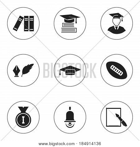 Set Of 9 Editable Graduation Icons. Includes Symbols Such As Oval Ball, Literature, Notepaper And More. Can Be Used For Web, Mobile, UI And Infographic Design.