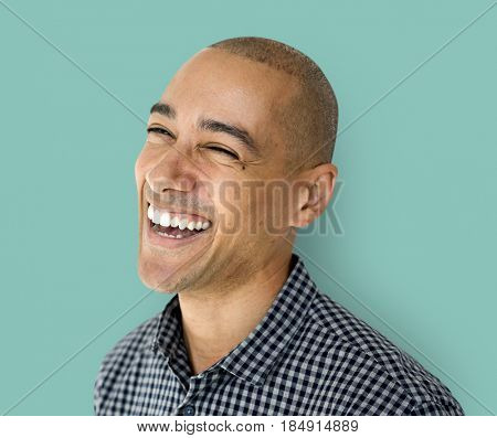 A happiness guy is smiling