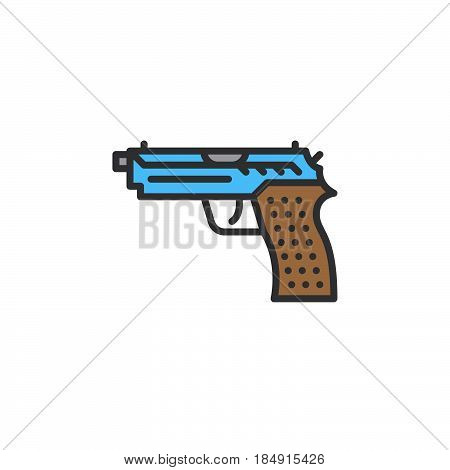Gun pistol line icon filled outline vector sign linear colorful pictogram isolated on white. Symbol logo illustration