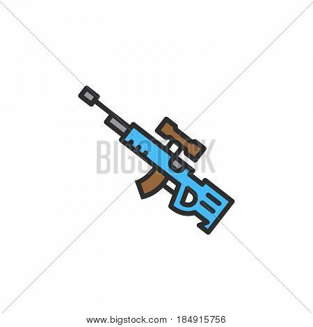 Sniper rifle line icon filled outline vector sign linear colorful pictogram isolated on white. Symbol logo illustration