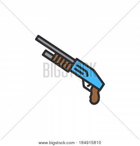 Shotgun line icon filled outline vector sign linear colorful pictogram isolated on white. Symbol logo illustration