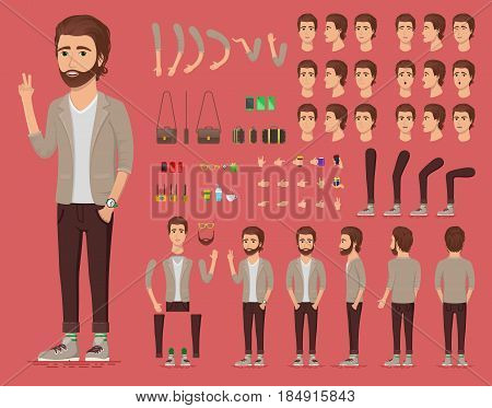 Creation set of handsome young man character with watch for create animation. Separate part of male person. Various types of faces and emotions. Front, side, back view of guy. Vector illustration.