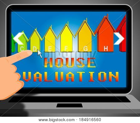 House Valuation Representing Current Price 3D Illustration