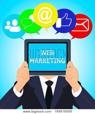 Web Marketing Means Network Sem 3D Illustration