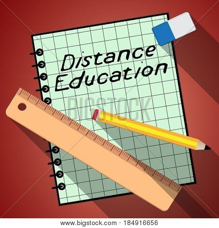 Distance Education Represents Correspondence Course 3D Illustration