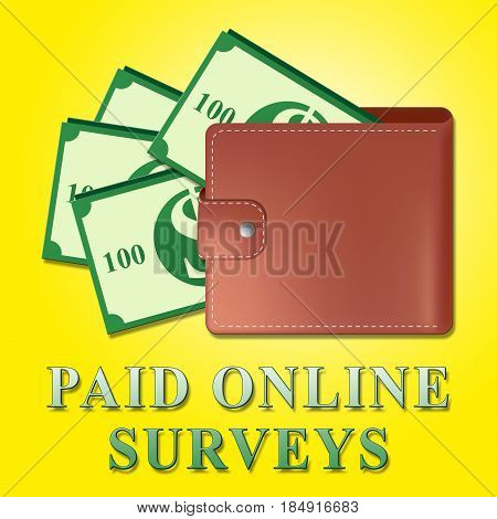 Paid Online Surveys Meaning Internet Survey 3D Illustration