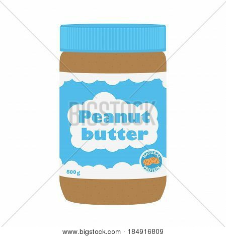 Peanut butter with peanuts. Healthy nutrition for breakfast. Made in cartoon flat style.