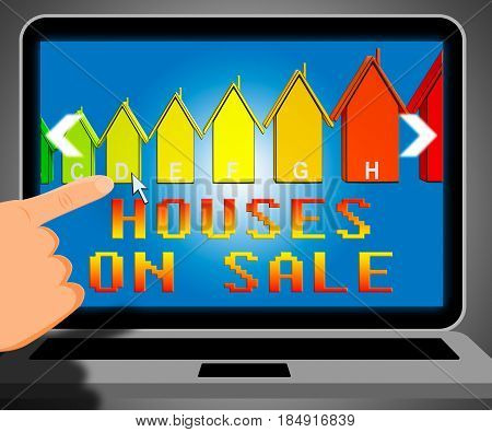 Houses On Sale Representing Sell House 3D Illustration