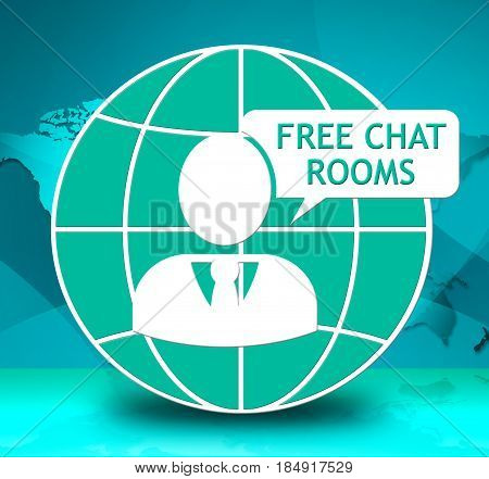 Free Chat Rooms Showing Internet Messages 3D Illustration