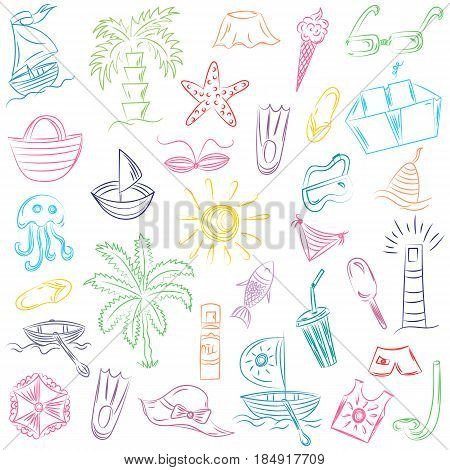 Colorful Hand Drawings of Summer Vacancies Symbols. Doodle Boats, Ice cream, Palms, Hat, Umbrella, Jellyfish, Cocktail, Sun. Vector Illustration.