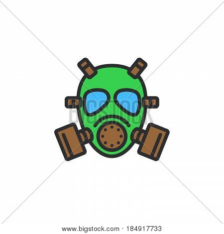 Gas mask line icon filled outline vector sign linear colorful pictogram isolated on white. Symbol logo illustration