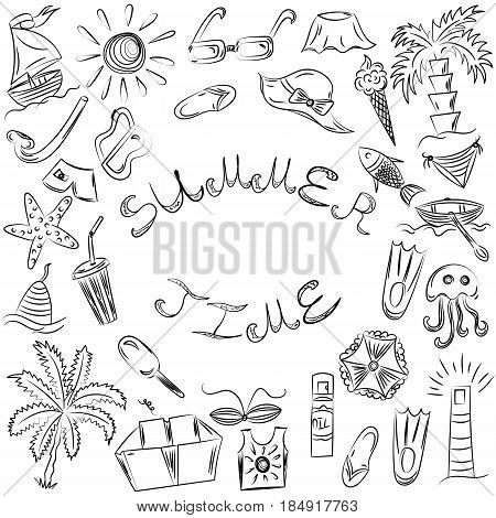 Summer Time. Hand Drawn Summer Vacancies Symbols. Children Drawings os Doodle Beach Symbols. Sketch Style. Vector Illustration.