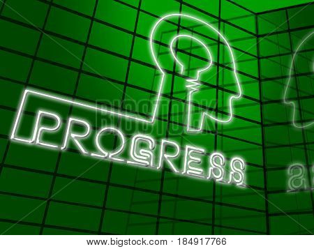 Progress Lightbulb Showing Betterment Headway 3D Illustration
