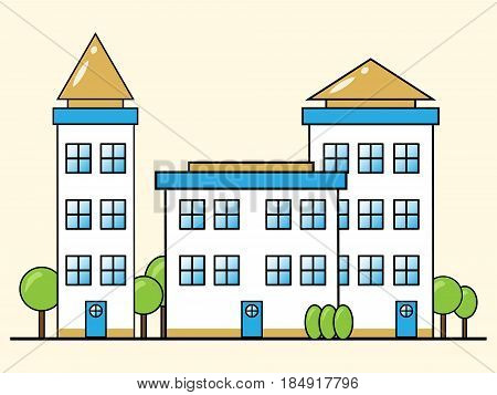 Apartment Building Representing Condo Property 3D Illustration
