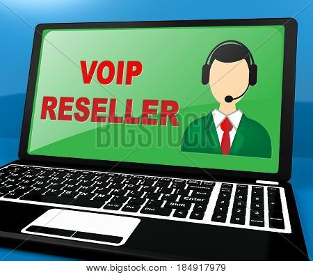 Voip Reseller Shows Internet Voice 3D Illustration