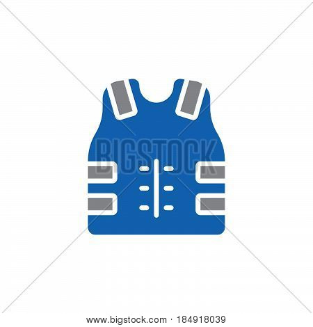 Bulletproof vest Body armor icon vector filled flat sign solid colorful pictogram isolated on white. Symbol logo illustration