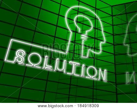 Solution Brain Representing Solving Successful 3D Illustration