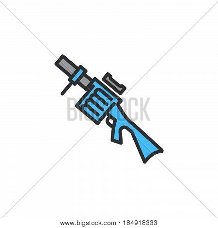 Grenade launcher line icon filled outline vector sign linear pictogram isolated on white. Symbol logo illustration