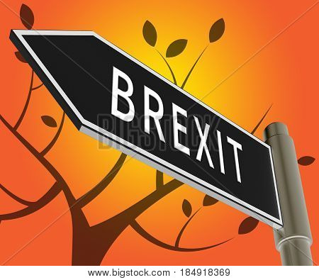 Brexit Sign Indicates Britain Remain Leave 3D Illustration