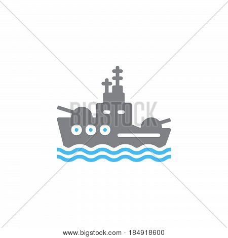 Battleship icon vector filled flat sign solid colorful pictogram isolated on white. Symbol logo illustration